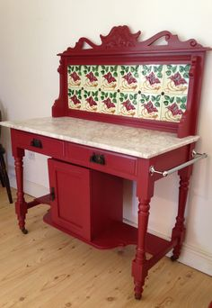 Restored Victorian Washstand with original marble and tiles. Painted in Farrow & Ball. €295 Pilgrims Cottage Industry is sold at Keanes Furniture Castlebridge, Wexford, Ireland.
