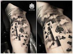 #cards #playingcards #realistictattoo #amazingtattoo #awesometattoo #tattooideas #clouds #armtattoo #tattooart #inked #artistictattoo #beautifultattoo #art #design #tattoo #leotattoos #Matunga #Mumbai #India