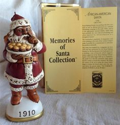 Memories of Santa 1910 African American Santa USA Ornament w/ orig box