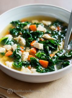 Healthy Chicken Soup Recipe with Tons of Kale and loaded with flavor…