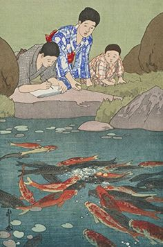 "Japanese Art Print ""Carp Fishes"" by Yoshida Hiroshi. Shin Hanga and Art Reproductions http://www.amazon.com/dp/B00ZA73I7K/ref=cm_sw_r_pi_dp_8BTvwb0JY66DB"