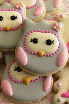 Una docena de buho decoradas galletas de azúcar por DolceDesserts