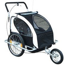 4f836d090be Aosom 2-in-1 Double Child Bike Trailer and Stroller - Black