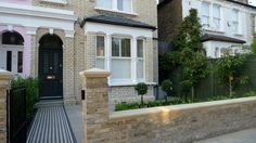 balham clapham classic victorian front garden yellow brick wall with black and white victorian mosaic york stone caps london  (1)