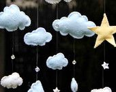 Items similar to Blue and White Felt Clouds with Yellow Stars and Swarovski Crystals Mobile on Etsy