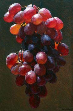 Grapes, framed oil painting by Robert Hannaford b. L'art Du Fruit, Fruit Art, Grape Painting, Fruit Painting, Painting Abstract, Realistic Paintings, Paintings I Love, Paintings Of Food, Oil Paintings