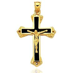 A beautiful symbol of faith this 14K yellow gold crucifix is highly polished and has Christ figure with a black enamel background . This cross is made to stand as remembrance of the Christian faith. This cross pendant comes in a gift box.