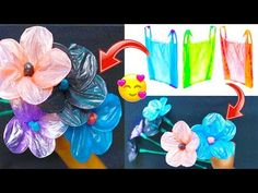 Best out of Waste Idea Fused Plastic, Use Of Plastic, Plastic Art, Diy Arts And Crafts, Crafts For Kids, Paper Bag Flowers, Plastic Bottle Flowers, Outdoor Art, Recycled Crafts