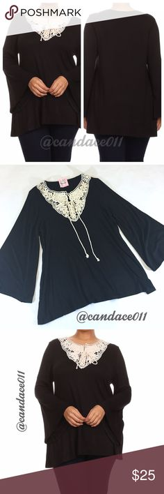 ❤️SALE!❤️ Bell Sleeve to Crocheted Neckline Tunic 🔹95% Rayon, 5% Spandex 🔹Long sleeves 🔹Lace up v-neck with crochet lace 🇺🇸Made in the USA🇺🇸 🔹Size Recommendations: XL/1X (16-18), 2X (20-22), 3X (24-26) CC Boutique Tops Tunics