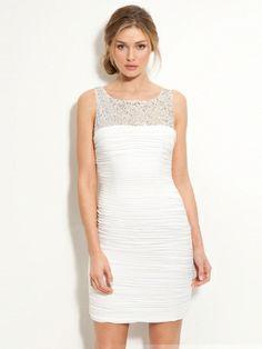 White Column Scoop Knee Length Satin Beads Wedding Dress at Millybridal.com