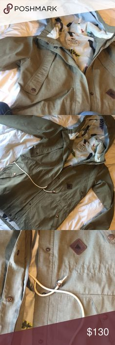 Burton Feather Rain Shell parka I'm so sad to get rid of this but I'm moving and have to get rid of some stuff. It's like new, thick and ultra durable. The whole thing is quality. I wear it snowboarding and it works great but i think it's meant more for casual wear.  Olive green with a feather patterned lining. Interior phone pouch with earphone hole. Four front pockets. A drawstring waist and hood. It is a small but fits big. Burton Jackets & Coats Utility Jackets
