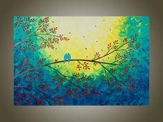 "large Original Modern Abstract Heavy Texture Palette Knife Impasto Painting Tree Branches Birds Landscape Wall Decor ""Moonlight Serenade"". $345.00, via Etsy."