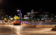 Park over Sports port in Marbella at night