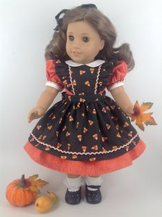 Three Piece Fall/Holiday Dress, Pinafore, & Petticoat for American Girl Doll, HF On Etsy Sewing Doll Clothes, American Doll Clothes, Sewing Dolls, Girl Doll Clothes, Girl Dolls, Baby Dolls, Black Pinafore, Pinafore Dress, Dolly Dress