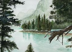 "Landscape Painting Watercolor. Title: "" Spirit Lake "" by Brenda Owen"