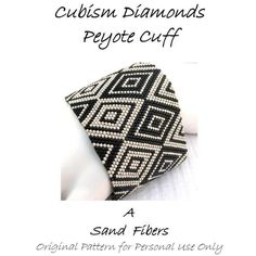 Peyote Pattern Cubism Diamonds Peyote Cuff / Peyote Bracelet