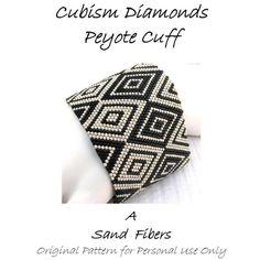 Peyote Pattern - Cubism Diamonds Peyote Cuff / Peyote Bracelet - A Sand Fibers…