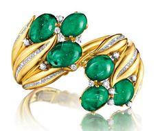 Hyacinth Bracelet by Verdura - cabochon emeralds in gold