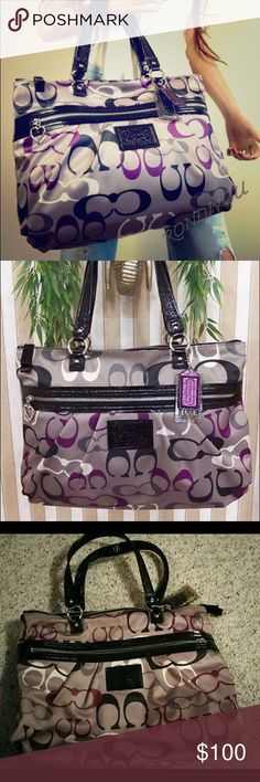 COACH DAISY OPTICAL PRINT TOTE! LIKE NEW! Color: Black / Gray / White / Purple / Multicolor Coach Signature optic print fabric Water / stain resistant Black patent leather Coach patch on front Black patent leather/fabric handles, accents One medium purple leather and one large clear plastic hang tags Zip-top closure with leather zipper pull Front and sides pleats One full length front zip pocket Detailed contrast stitching Polished silver tone hardware. Serial number inside COACH embossed…
