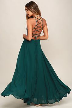 Chic Forest Green Dress - Lace-Up Dress - Backless Dress - Maxi Dress - $56.00