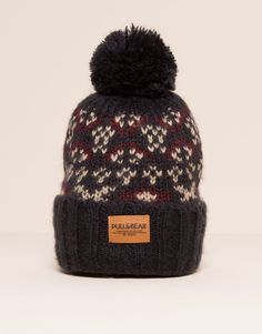 Pull&Bear - man - caps & hats - printed bobble beanie - burgundy - 09831518-I2015