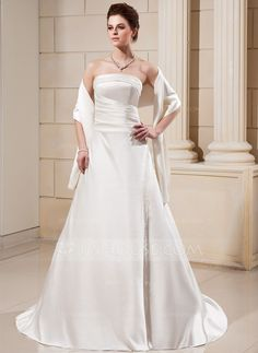 A-Line/Princess Strapless Court Train Satin Wedding Dress With Ruffle Beading (002000560)