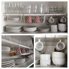 Elas se encaixam nas prateleiras existentes sem precisar de furo ou fixação e podem ser encontrados em lojas de utilidades domésticas.