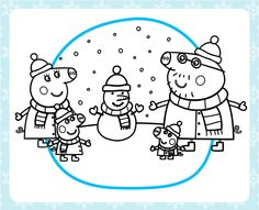 Stay warm with a printable Peppa Pig winter coloring pack!