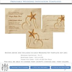Beach Wedding Invitations | Top selling printable beach wedding invitations kits design features ...