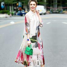 c3affaf82c0 2017 100% Натуральный Шелк Натуральный Цветочный Принт Старинные Баски Мода  Свободные Богемия Dress Элегантный Партии
