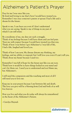 Poem: Alzheimer's Patient's Prayer by Carolyn Haynali