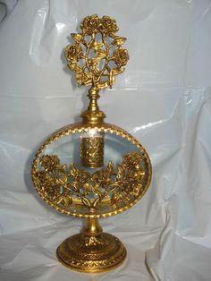 Vintage Gold Rose Filigree Glass Perfume Bottle with Dauber  $109.99