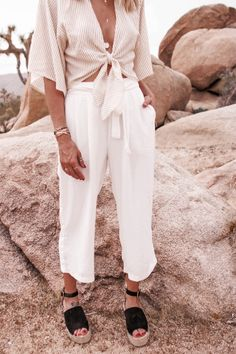 Tie front top, white pants, and espadrilles