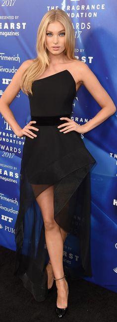 Who made Elsa Hosk's black strapless gown?