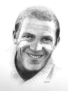 Steve McQueen by Paul Brady ~ stippling technique