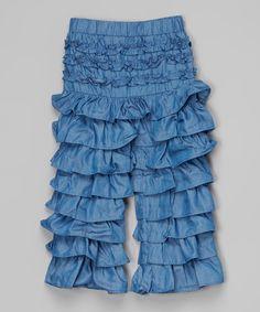 This A Little Annafaith Denim Ruffle Pants - Toddler & Girls by A Little Annafaith is perfect! #zulilyfinds
