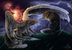 Umbrella by Astaiir - Wolf with wings shielding a second wolf from a downpour during a thunderstorm. http://digital-art-gallery.com/picture/6595