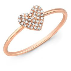 Anne Sisteron  14KT Rose Gold Diamond Valentine Heart Ring ($345) ❤ liked on Polyvore featuring jewelry, rings, red gold ring, diamond heart jewelry, diamond rings, rose gold jewelry and heart shaped rings