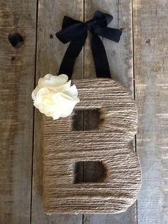 Rustic Hanging Twine Wrapped Monogram Letter AZ by LoRustique
