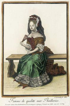 Recueil des modes de la cour de France, 'Femme de qualité aux Thuilleries'  France, Paris, 1687 LACMA Collections