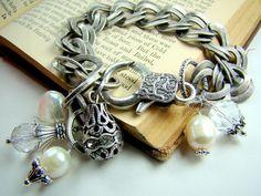 Silver chain bracelet, pearl charm bracelet, bridal bracelet,... Bliss. $46.00, via Etsy.