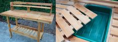 potting bench with dirt catcher