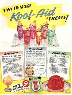 A cheerfully bright ad for various ways you can turn Kool-Aid into deserts.  1946 vintage.