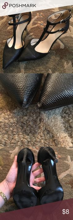 Black ankle strap Nine West heels EUC. worn only a few times. See light damage on toe of heels. Silver buckles. 7.5. Nine West Shoes Heels