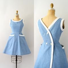 1950s sundress, light blue denim cotton with white trim, scoop neck, tank shoulder, two large patch pockets, fit and…