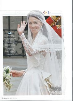 Scanned from People. Kate Middleton wedding dress.