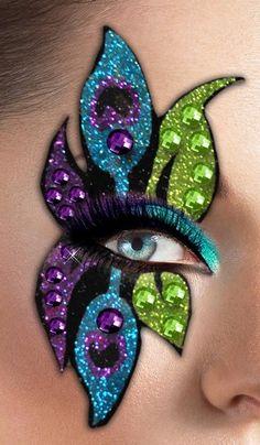 pea.-eye-makeup Peacock Artwork, Eye Makeup, Feather, Crown, Eyes, Halloween, Fifa, Drawings, Painting