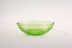 Green Berry Bowl Block Optic Depression Glass by Vintassentials