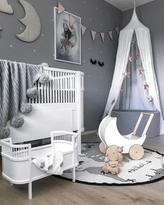Love this cute kid room! Rosaline doll bed, Ooh Noo toy pram and OYOY The World rug are all available at www.istome.co.uk
