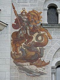Pintura mural de Sant Jordi, al Castell de Neuschwanstein, Baviera.